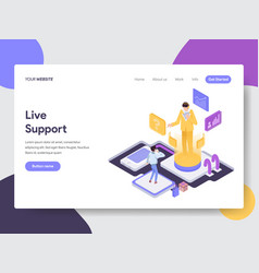 landing page template live support concept vector image