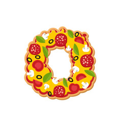 Letter o pizza font italian meal alphabet vector
