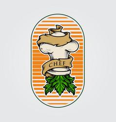 logo hat chef hydroponik vector image