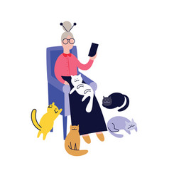 lonely grandma with cats and telephone flat vector image
