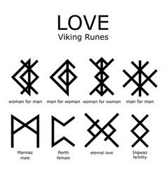 Love viking runes set bind runes vector