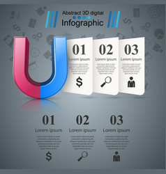 magnet realistic icon business infographic vector image