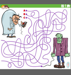 Maze game with cartoon evil scientist and zombie vector