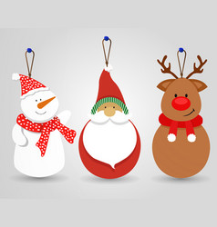 merry christmas snowman santa decoration ornament vector image