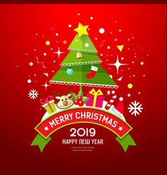 merry christmas tree and gift box red background vector image