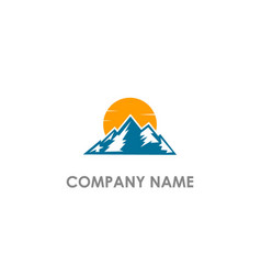 mountain nature sun logo vector image
