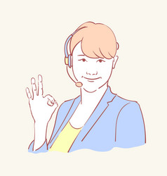 online assistant support operator hand drawn style vector image