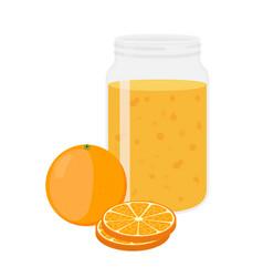 Orange juice orange and slice cartoon flat style vector