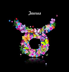 Pattern with butterflies cute zodiac sign - taurus vector image
