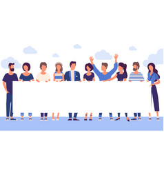 People holding blank white banner vector