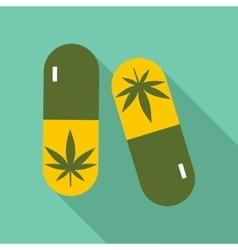 Pills marijuana icon flat style vector