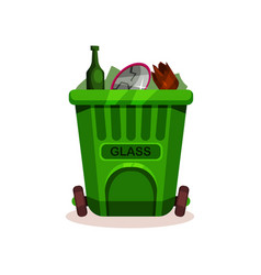 Plastic container with glass waste green garbage vector