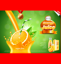 pouring orange juice ads realistic background vector image