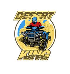 Quad bike in desert hills logo isolated vector