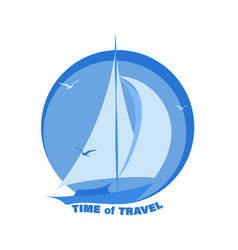 Sailing yacht time travel vector