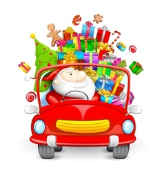 Santa Claus driving car with Christmas gifts vector