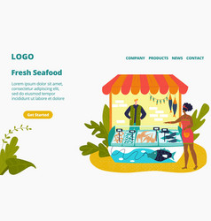 Seafood stall and fresh fish street shop store vector