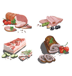 set cartoon food stylized raw meat vector image