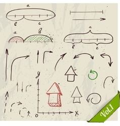 Set of arrows and math elements vector image