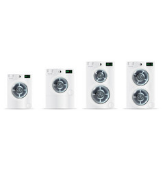 Set of front load white washing machines with vector