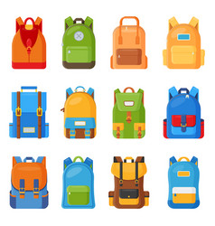 Set of twelve colored school backpacks education vector