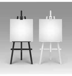 Set of Wooden Black White Easels with Canvases vector