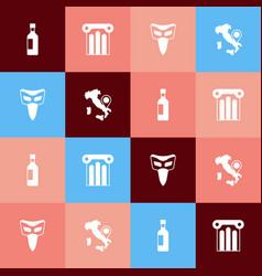 Set pop art bottle of wine ancient column vector