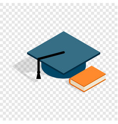 Student hat and book isometric icon vector