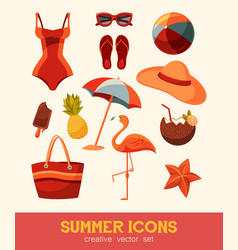 Summer and sea elements isolated on background vector