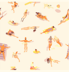 swimming people pattern summer seamless print vector image