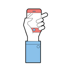 technology smartphone in the hand to digital vector image vector image