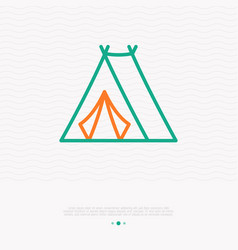 Tent for camping thin line icon vector