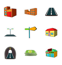 town icons set cartoon style vector image