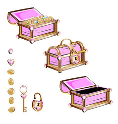 Treasure chest with pink gemstones vector
