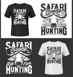 Tshirt print with buffalo head mockup hunting club vector
