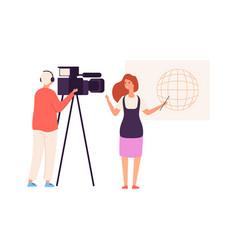 Tv presenter live news journalist camera crew vector