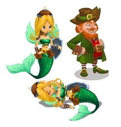 Two blonde mermaids and a man leprechaun vector image