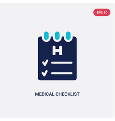 two color medical checklist icon from health and vector image