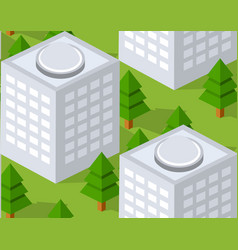 Urban isometric area with building trees lawns vector