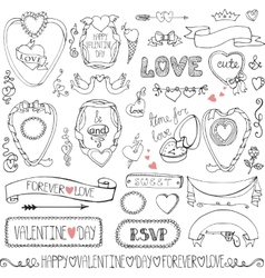 Valentines daywedding framesicon ribbon decor vector image