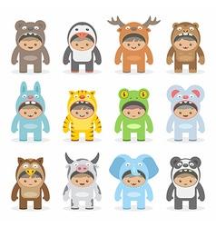 Christmas costumes kids vector