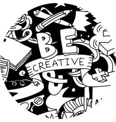 Creative pen idea doodles symbol round black and vector image