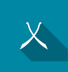 crossed swords with long shadow scimitar icon vector image vector image