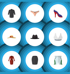 Flat icon clothes set of lingerie trunks cloth vector