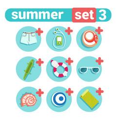 Summer holiday icon set beach vacation concept vector