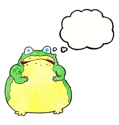 Cartoon fat toad with thought bubble vector