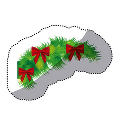 color fir with christmas bow arc icon vector image