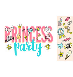 Princess party lettering with girly doodles vector