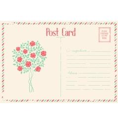 Rose bush postcard vector image vector image