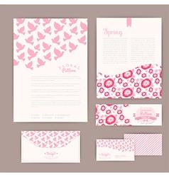 Set of floral vintage wedding cards invitations or vector image